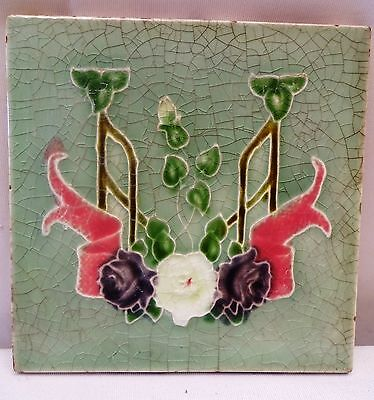 Antique Tile Art Nouveau Made In England Majolica Purple Rose Flower Design Rare