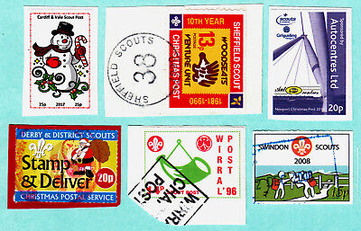 SCOUTS STAMPS: small group from six different Scouts posts, most on small pieces