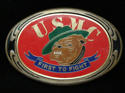 Pf07144 Vintage 1986 **United States Marines** Military Solid Brass Belt Buckle