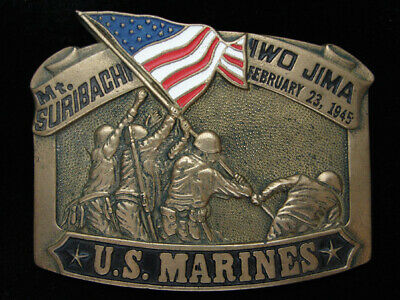 Pf07145 Vintage 1982 **United States Marines** Military Solid Brass Belt Buckle