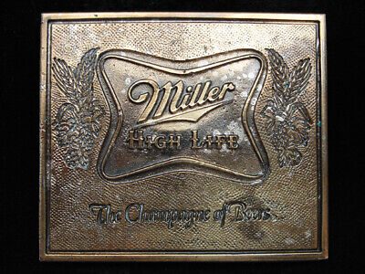 PE03129 VINTAGE 1970s **MILLER HIGH LIFE THE CHAMPAGNE OF BEERS** BELT BUCKLE