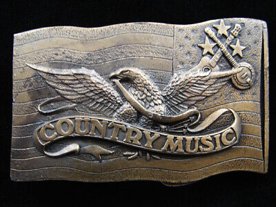 Re07125 Vintage 1977 **Country Music** Commemorative Brasstone Belt Buckle