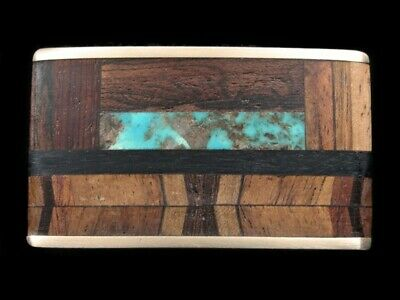 RK07174 VINTAGE 1970s **TURQUOISE & WOOD BANDS** KENNETH REID SOLID BRASS BUCKLE