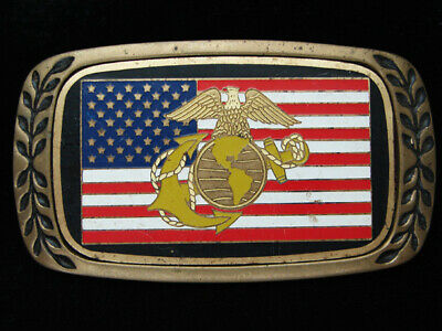 Pf07141 Vintage 1980 **United States Marines** Military Solid Brass Belt Buckle