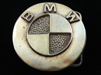 RD13149 VINTAGE 1970s **BMW** CAR COMPANY LOGO SOLID BRASS BELT BUCKLE