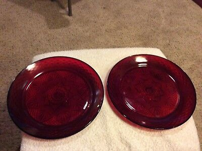 """Set of 2 Vintage Luminarc Arcoroc Ruby Red Glass 10"""" Dinner Chop Plates France"""