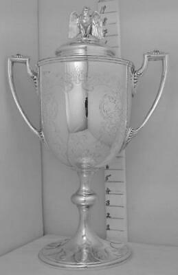 346 Antique English Sterling Silver Trophy Loving Cup And Cover & Eagle Finial