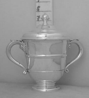 242 Excellent English Sterling Silver Trophy Loving Cup And Cover By Comyns 1923