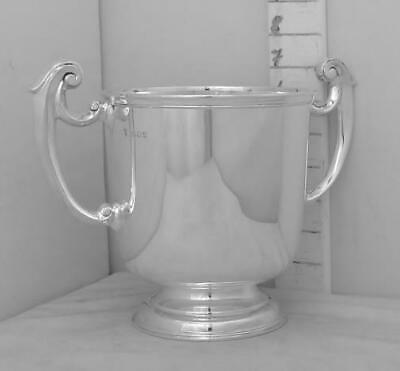 227 Robust English Sterling Silver Trophy Loving Cup, Not Inscribed, Heavy.