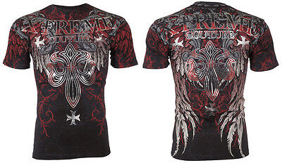 XTREME COUTURE by AFFLICTION Men T-Shirt BOLD CIPHER Wings BLACK Biker UFC $40