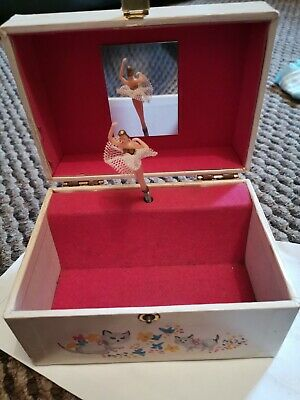 Vintage ballerina music box  In Good Condition Slight Water Damage And Wear N...
