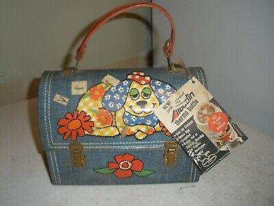 NEW Aladdin Patchwork Dog Lunchbox original tag but dirty & some rust (H)