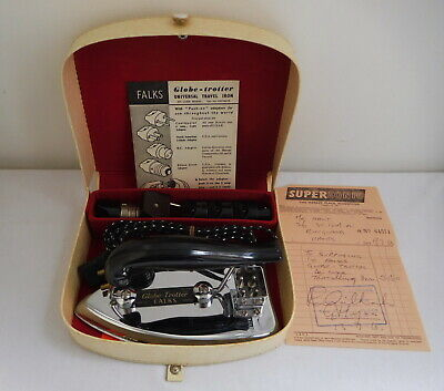 Vintage 1960s Falks Globe Trotter Travel Iron and Accessories Cased with Receipt