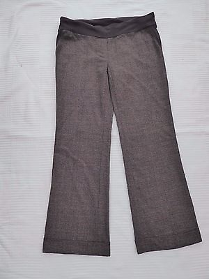 Mothercare check/tweed style turn-up hems pull-on maternity trousers Size 10