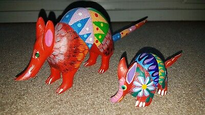 2x wooden Colorful Armadillos -Oaxacan Mexican Folk art.