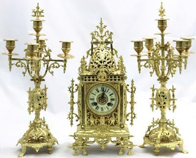 Antique Mantle Clock French Exceptional Gothic 8Day Pierced Bronze Garniture Set