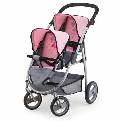Bayer Doll's Pram Twins Grey and Pink Children Toy Gift Pushchair 26508AA~