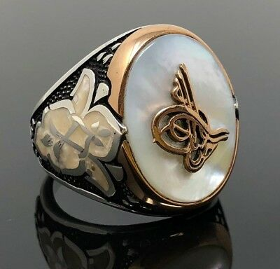 925K Sterling Silver Mother of Pearl Stone MOP Enameled Ottoman Men's Ring  K63C
