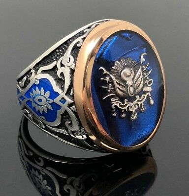 .925 Sterling Silver Sapphire Enameled Stone Ottoman Men's Ring -K62P