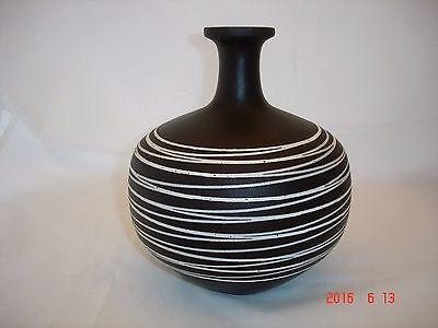 Vintage Mid-century Large HAEGER Pottery Vase~Black with White Lines~Excellent