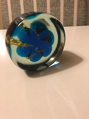 Mdina Glass Sea & Sand Blue & Yellow  Jellyfish  Sculpture Or Paperweight