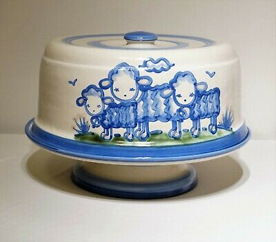 M.A. Hadley Pottery Pedestal Cake Stand + Cake Plate Cover/Top/Lid - Farm Lambs