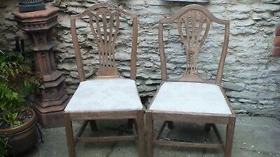 2 stripped and polished matched Georgian  side chairs