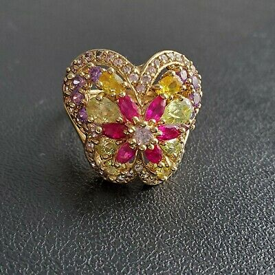 Sign 925 Sterling Silver Gold Plated Butterfly Flower Rhinestone Ring Sz 10 G174
