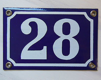 Vintage Plaque Tole Emaillee Numero Rue Maison Enamel House Number Sign 28