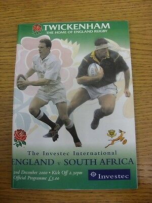 02/12/2000 Rugby Union Programme: England v South Africa [At Twickenham]. Thanks