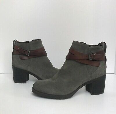 74846f9d4 SAM EDELMAN HANNAH Gray Suede Ankle Booties Boots 7.5 Worn Once ...
