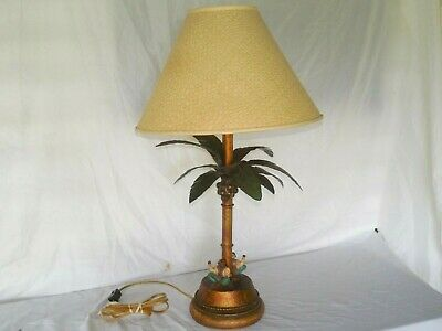 Vintage Metal Palm Tree With Monkeys Sitting On The Base Electric Table Lamp