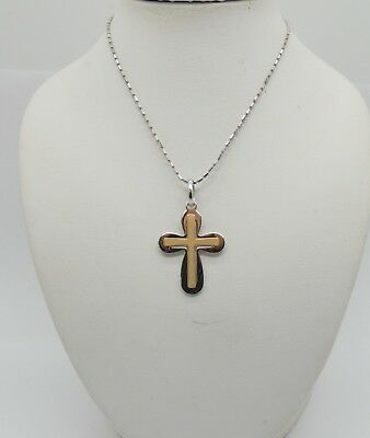 "Solid 18k White & Yellow Gold Modern Style Cross Pendant 18"" + white gold Chain"