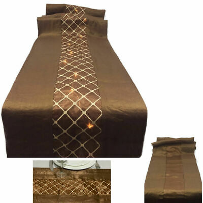 "72"" x 13.5"" Brown & Tan Table Runner Reversible Battery Operated 20 LED Lights"