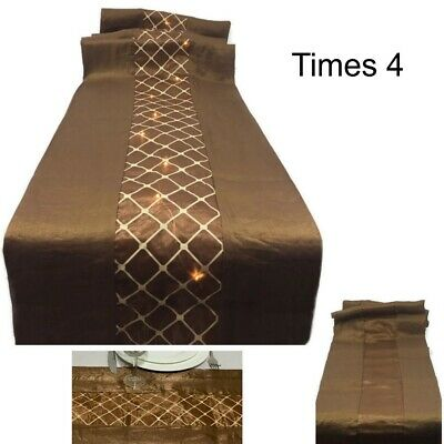 "FOUR 72"" Brown & Tan Table Runner Reversible Battery Operated 20 LED Lights"