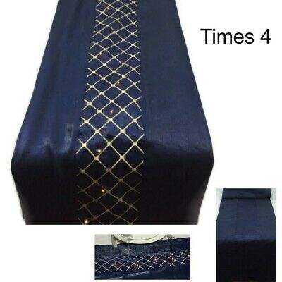 "FOUR 72"" Navy Blue & Gold Table Runner Reversible Battery Operated 20 LED Lights"