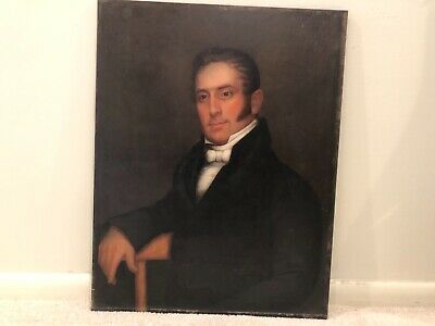 Antique Portrait on Oak Panel Man Gentleman Rare 19th Century Oil Painting 19b