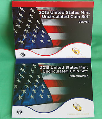 2015 P and D ANNUAL US Mint Uncirculated Coin Set 28 P and D Minted Coins