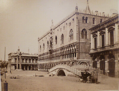 Venice Piazza San Marco Rare Large Albumen -Carlo Ponti - Stamped  & Listed