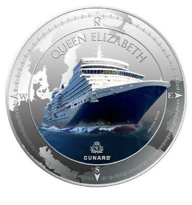 Pitcairn Islands 2013 $2 Cunard Lines Queen Elizabeth 1oz LIMITED Silver Coin