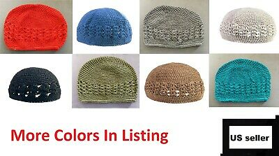 fb79f41400028 KUFI Crochet Beanie Skull Cap Knit Hat Muslim Islamic Prayer Cotton Plain  Colors