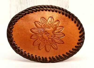 Vintage Borden Elsie the Cow Leather Belt Buckle made by J.P. Hervey Flatonia TX