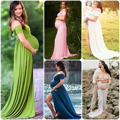 02a465364b8 Off Shoulder Sweetheart Long Maxi Maternity Dress Photography Baby Shower  Gown