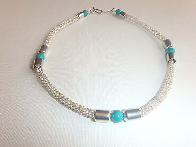 Handmade Viking Knit Weave choker Necklace Turquoise Sterling Silver 925