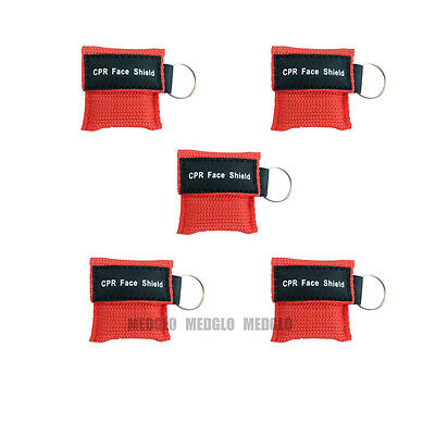 5 pcs CPR MASK WITH KEYCHAIN CPR FACE SHIELD AED TRAINING RED