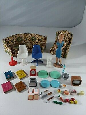 Lot Vtg Mid Century Eames Chairs Mother Doll House Furniture Easter Island Sofa