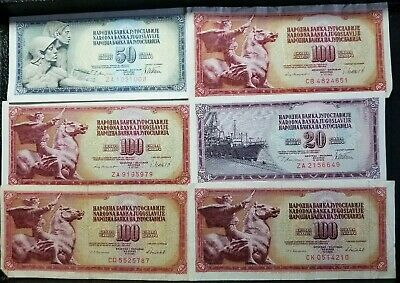 Lot Of 6 Yugoslavian Foreign Currency Paper Notes