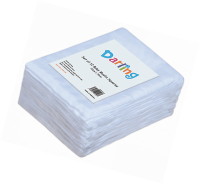 Darling Premium Quality Baby Muslin Squares 100% Cotton SUPERSOFT Pack Of 12 (Wh