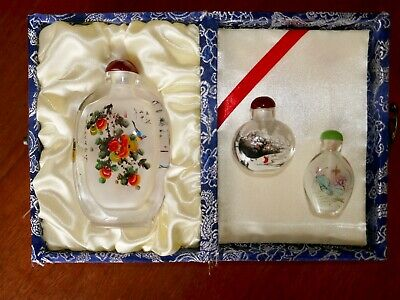 VINTAGE SIGNED Chinese Oriental Hand Painted Glass Snuff Bottle ORNAMENT X3