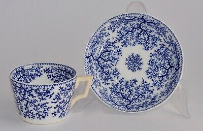 Antique Minton SEAWEED Blue Tea/Coffee Cup and Saucer (Rimmed, No Trim)